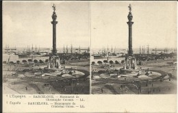 L' ESPAGNE , BARCELONE , Monument De Christophe Colomb , Stéréoscopique - Barcelona