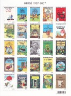 Hergé 1907 - 2007 Tintin Bloc De 25 Timbres Représentant 25 Couvertures D'albums - Feuillets