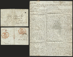 J) 1840 MEXICO, MARITIME MAIL FROM VERACRUZ TO BATH ENGLAND, 2/3 MANUSCRIPT AT THE BACK2 FINE OVAL PAID SHIP LETTER/LOND - Mexico