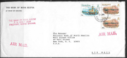 1980 Bahamas Bank Cover, Freeport, 13 Nov 1980, 1c & 10c Columbus Stamps - Bahamas (1973-...)