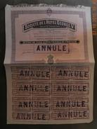 1927 - ACTION DE 500 FRANCS - SOCIETE DE L'HOTEL GEORGE V - ANNULE - Tourisme
