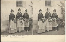 ESPANA , Tipos De Mujeres , L' ESPAGNE , Types De Jeunes Filles , Stéréoscopique ANIMEE - España