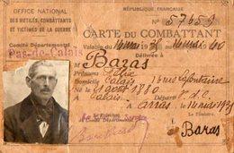 VP5668 - MILITARIA - Carte Du Combattant Avec Photo - Mr BARAS à CALAIS - Cartes