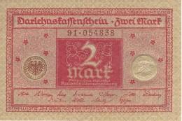 GERMANY 2 MARK 1920 P-59 UNC REICHSSCHULDENVERWALTUNG S/N 91 054838 [ DER059 ] - Allemagne