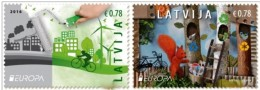 2016 Latvia Lettland Lettonie Europa -CEPT Think Green Ecology - Bicycles  STAMPS MNH - Europa-CEPT