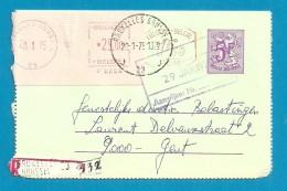 Roodfrankeering Op Kaartbrief Aangetekend Met Stempel BRUXELLES 23 - Franking Machines