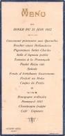 "04929 ""MENU - DINNER DU 25 JUIN 1922 - MODERN HOTEL JOIGNY"" SCRITTO. ORIGINALE DECORI IN RILIEVO E ORO - Menu"