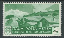 1935 REGNO POSTA AEREA BELLINI 5 LIRE MH * - Y117-2 - Luftpost