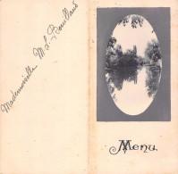 "04930 ""MENU - DINNER DU 21 AOUT 1920 - G.M. - MADEMOISELLE M. L. BOUILLAUD"" SCRITTO. ORIGINALE DECOR SCORCIO PANORAMICO - Menu"