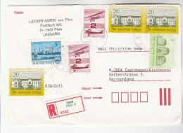 1993 REGISTERED Pecs HUNGARY COVER Franked 7 X STAMPS AIRCRAFT, BUILDINGS To GB Aviation - Covers & Documents