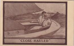 """Romantic Couple In Sailboat """"Close Hauled"""" 1914"""