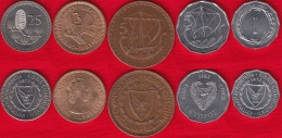 Cyprus Set Of 5 Coins: 1 - 25 Mils 1955-1982 - Chypre