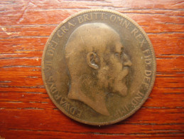 Great Britain 1904 EDWARD VII  ONE PENNY  USED POOR CONDITION.(HG43) - 1902-1971 : Post-Victorian Coins