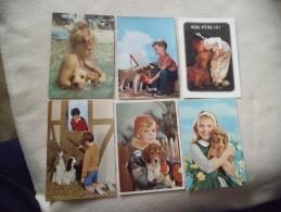 LOT DE 6 CARTES ...CHIENS ET ENFANTS... - 5 - 99 Postcards