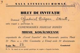 Romania - Bucuresti - Cercul Iesenilor - Comemorare Mihail Kogalniceanu - Invitatie - Other