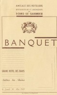 39 : M Enu Du Banquet Des Hôteliers Restaurateurs Et Limonadiers De Lons- Le- Saunier En 1949, à  Salins Les Bains - Francia