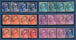 PRÉOBLITÉRÉS N° 101 À 104 MARIANNE DE GANDON 1947-54 - DIFFÉRENTES NUANCES - SANS GOMME = OBLITÉRÉS