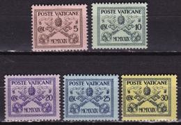 VATICAN CITY 1929 Pope Pius XI 5 Values From The Set To 30 C. MH Mi. 1 / 5 - Vaticaanstad