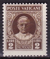 VATICAN CITY 1929 Pope Pius XI 2 Lire Sepia MH Mi. 10 - Vaticaanstad