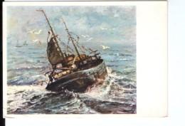 S258 Cartolina Di Pittura E Quadri: Navi Nave Ship Bateaux QUADRO DIPINTO CON IL PIEDE DA MOLEVELD - ED. SPAM N. 3319 - Barche