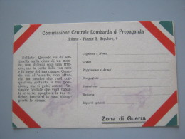 CARTOLINA COMMISSIONE CENTRALE LOMBARDA DI PROPAGANDA - Militari