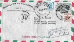 MEXICO - COLORADO → Consulado De Guatemala Luftpostbrief/Correo Anno 1960 ►R-Seguros Postales◄ - Mexique
