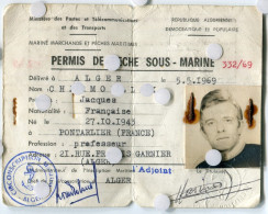 Carte Identité Permis De Pêche Sous Marine ALGER Marine  Marchande 1970 1969 - Unclassified