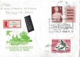 UNGARN - ST.GALLEN → Einschreibebrief Per Luftpost Keszthely-Uznach Anno 1958