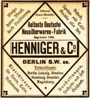 Original-Werbung/ Anzeige 1898 - HENNIGER NEUSILBERWAREN - FABRIK - BERLIN - Ca. 90 X 90 Mm - Publicités