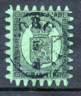 FINLAND 1866 8p. Black/green Roulette III, Used.  Michel 6CX - 1856-1917 Russian Government