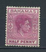 BAHAMAS    1938    1/2d  Brown  Purple  9heavy Hinged )    MH - 1859-1963 Crown Colony