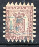 FINLAND 1866 5p. Purple-brown Roulette III, Used.  Michel 5CX - 1856-1917 Amministrazione Russa