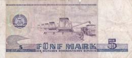 ALLEMAGNE - RDA - BILLET DE 5 MARK - 1975 - [ 6] 1949-1990 : RDA - Rép. Dém. Allemande