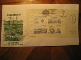 1987 Edifil 2916 Bloc ESPAMER 87 La Coruña Faro Phare Lighthouse Ship Ships America SPD FDC Spain - FDC
