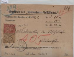1875 Sitzende Helvetia/Helvétie Assise Nr. 37 2c + 38 10c N.N. Von Elgg Nach Winterthur (Winterthurer Volksblattes) - 1862-1881 Helvetia Assise (dentelés)