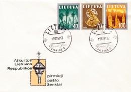 Litauen, 1991, 474/76, Freimarken:  Nationale Symbole, FDC - Lithuania