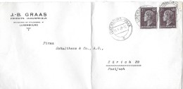 LUXEMBURG-VILLE - ZÜRICH 39  → J.-B- Graas Pruduits Industriels Luxemburg 1949 - Luxembourg