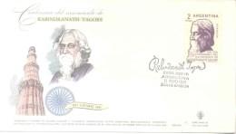 RABINDRANATH TAGORE CENTENARIO DEL NACIMIENTO 1861 - 6 DE MAYO - 1961 FDC MATASELLO BUENOS AIRES