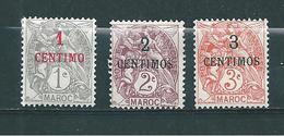 Colonie Maroc Timbres De 1907/10  N°20 A 22  Neuf * - Marokko (1891-1956)