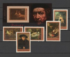 USSR Russia 1976 Paintings Rembrandt  Set Of 5 + S/s MNH