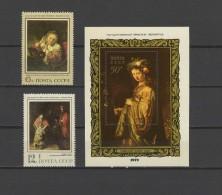 USSR Russia 1973 Paintings Rembrandt  2 Stamps + S/s MNH