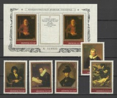USSR Russia 1983 Paintings Rembrandt Set Of 5 + S/s MNH
