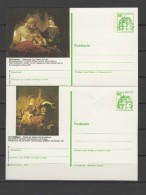 Germany 1980 Paintings Rembrandt 2 Commemorative Postcards