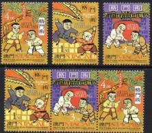 China Kampfsport 1997 MACAU 943/5 Als 3-Streifen ** 3€ Judo Karate Kung Fu Selten Military Sport Se-tenant Bf Macao Rar - 1999-... Chinese Admnistrative Region