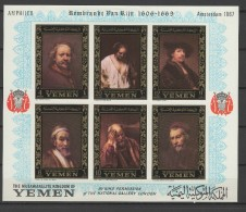 Yemen Kingdom 1967 Paintings Rembrandt S/s Imperf. MNH (tear On Top - See Scan)