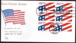 United States 1990 US Flag First Plastic Exotic Stamp BLK/6 FDC Sc 2475 # 6016