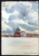 AQUARELLE 193 X 280 Mm, ARTISTE: MATHILDE CAUDEL DIDIER ( BENEZIT ), VENISE ( ITALIE ) LE REDEMPTEUR, 1909 - Acquarelli