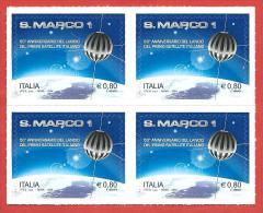 ITALIA REPUBBLICA QUARTINA MNH - 2014 - 50º Anniversario Del Lancio Del Satellite San Marco 1 - € 0,80 - S. ---- - 6. 1946-.. Repubblica