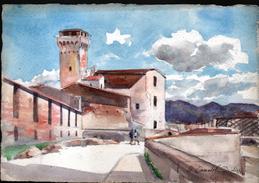 AQUARELLE 193 X 280 Mm, ARTISTE: MATHILDE CAUDEL DIDIER ( BENEZIT ), PISE ( ITALIE ), 1904 - Aquarelles