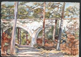AQUARELLE 193 X 280 Mm, ARTISTE: MATHILDE CAUDEL DIDIER ( BENEZIT ), FONTAINEBLEAU, ROUTE DE L'ESPERANCE, 1924 - Aquarelles